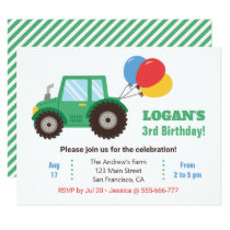 Green Tractor and Balloons Birthday Party Invitation