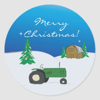 Green Tractor and Barn Holiday Decoration Sticker