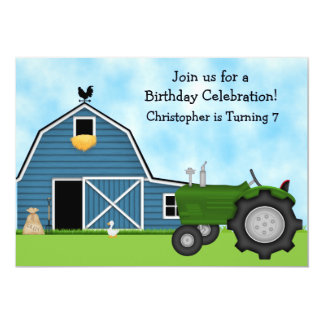 Green Tractor and Blue Barn Boys Birthday Party 5x7 Paper Invitation Card