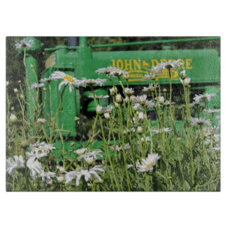 Green Tractor and Flowers Cutting Board