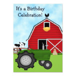 Green Tractor and Red Barn Birthday Invite ~ Boys