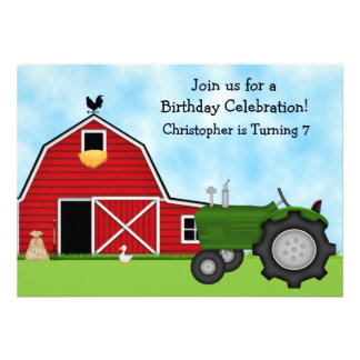 Green Tractor and Red Barn Birthday Invite Boys