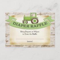 Green Tractor Baby Boy Diaper Raffle Card