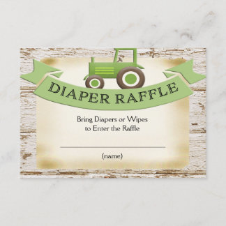 Green Tractor Baby Boy Diaper Raffle Card