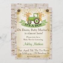 Green Tractor Baby Boy Shower Invitation