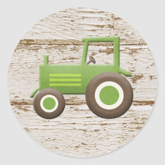 Green Tractor Baby Boy Sticker