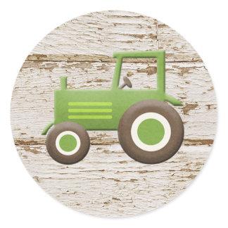 Green Tractor Baby Boy Sticker