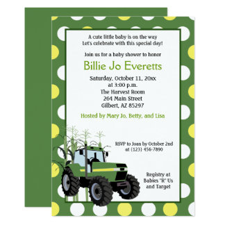 Green Tractor Baby Shower 5x7 Invitation