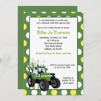 Green Tractor Baby Shower 5x7 Invitation