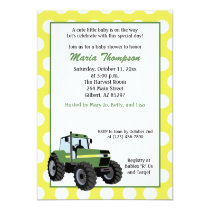 Green Tractor Baby Shower 5x7 Invitation (Yellow)
