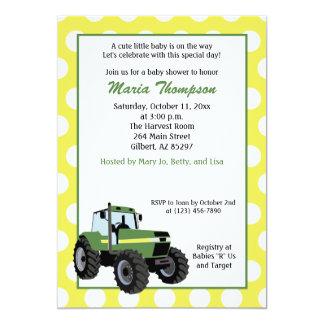 Green Tractor Baby Shower 5x7 Invitation (Yellow)