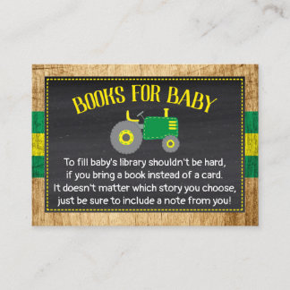 Green Tractor Baby Shower Bring a Book Enclosure Card