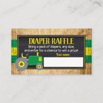 Green Tractor Baby Shower Diaper Raffle Ticket Enclosure Card