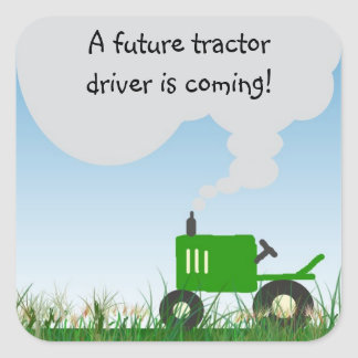 Green Tractor Baby Shower Envelope Seal