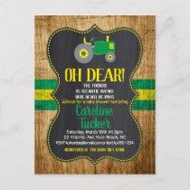Green Tractor Baby Shower Invitation Postcard