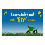 Green Tractor Baby Shower Poster: Boy