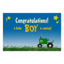 Green Tractor Baby Shower Poster: Boy Poster