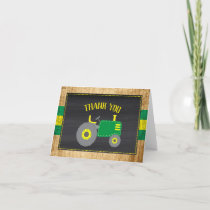 Green Tractor Baby Shower Thank You Card
