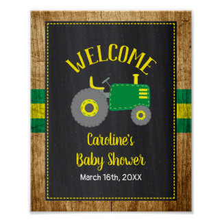 Green Tractor Baby Shower Welcome Sign Decor