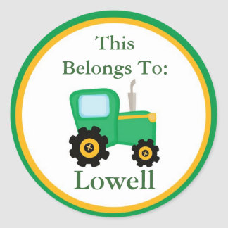 Green Tractor Back to School Stickers