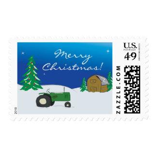 Green Tractor & Barn Christmas Postage