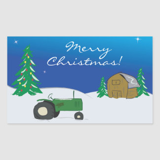 Green Tractor & Barn Large Holiday Sticker