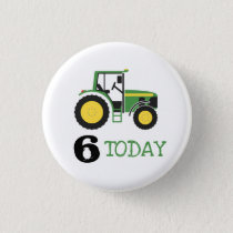 Green Tractor Birthday Age Badge Button