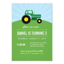 Green Tractor Birthday Party Invitation