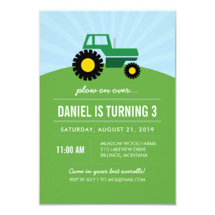 Green Tractor Birthday Party Invitation