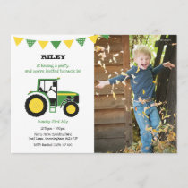 Green Tractor Birthday Party Invite With Photo