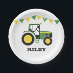 "Green Tractor Birthday Party Paper Plate<br><div class=""desc"">If you have a little farmer who is mad about all things down at the farm, then these blue tractor paper plates will go down a treat. Plates can be personalised with child's name. This design is part of a range of green tractor party themed products. See the whole collection...</div>"