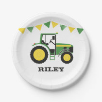Green Tractor Birthday Party Paper Plate