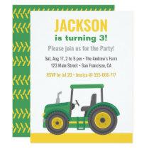Green Tractor Boys Birthday Party Invitation