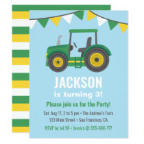 Green Tractor Bunting Flags Boys Birthday Party Invitation