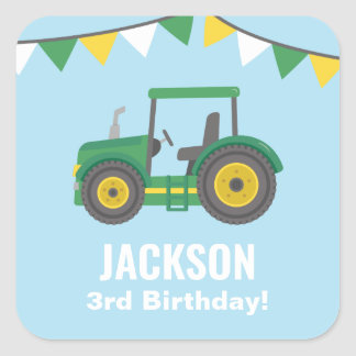 Green Tractor Bunting Flags Boys Birthday Party Square Sticker