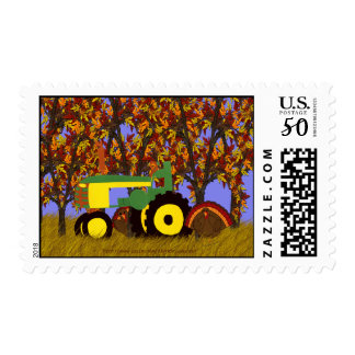 Green Tractor by Autumn Trees and Turkeys Postage