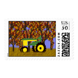 Green Tractor by Autumn Trees Postage