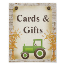 Green Tractor Cards and Gifts Baby Shower Sign