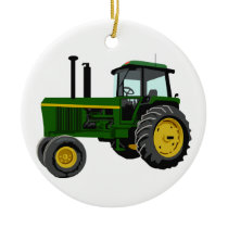Green Tractor Ceramic Ornament