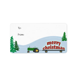Green Tractor Christmas Gift Label