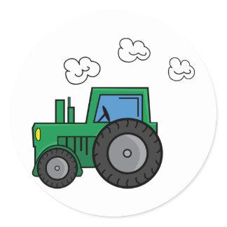 Green Tractor Classic Round Sticker