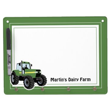 Green Tractor Dry Erase Board with Key hooks