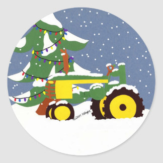 Green Tractor Envelope Seal Christmas Sticker