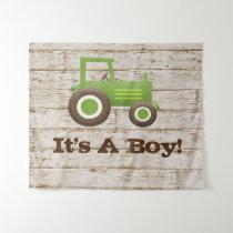 Green Tractor Farm Baby Shower Boy Backdrop