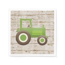 Green Tractor Farm Baby Shower Boy Napkins