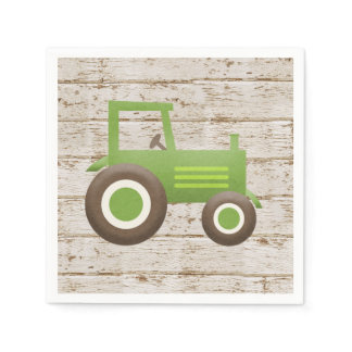 Green Tractor Farm Baby Shower Boy Napkins