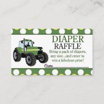 Green Tractor Farm Baby Shower Diaper Raffle Card