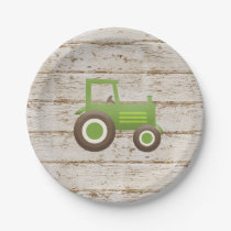 Green Tractor Farm Baby Shower Paper Plate