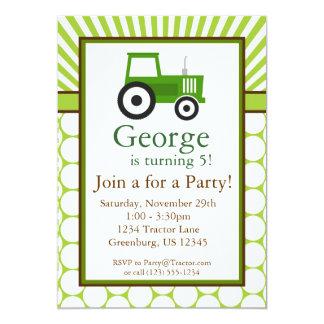 Green Tractor - Farm Birthday Party Invite
