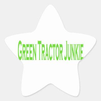 Green Tractor Junkie Star Sticker